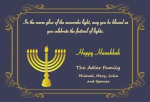 Classic Hanukkah Invitation Wording menorah blue gold