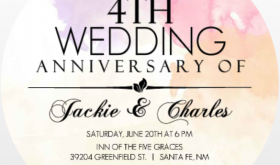 Colorful Watercolor 4th Anniversary Invitation Evite Alternatives