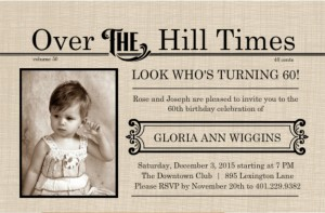 Extra! Extra Over The Hill Times Newspaper 70th Birthday Invitation