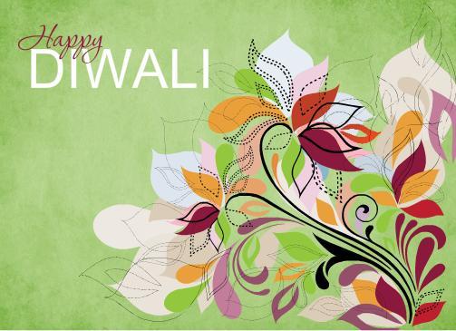 Fancy Floral Diwali Greeting Card