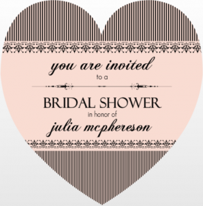 French Striped Heart Bridal Shower Game Ideas Invitation