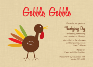 Gobble Gobble Turkey Thanksgiving Craft ideas Invitation