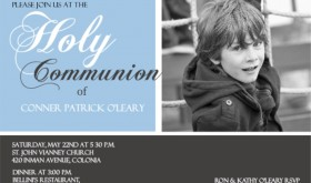 Gray And Blue Photo Holy Communion Invitation wording