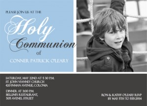 Gray And Blue Photo Holy first Communion Invitation wording