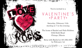 Grunge Love Rocks Valentine's Day Party Invitation Teen Valentines Day Party Ideas
