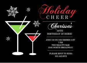 Holiday Cheer Martini Birthday Party Invitation Printable holiday party games