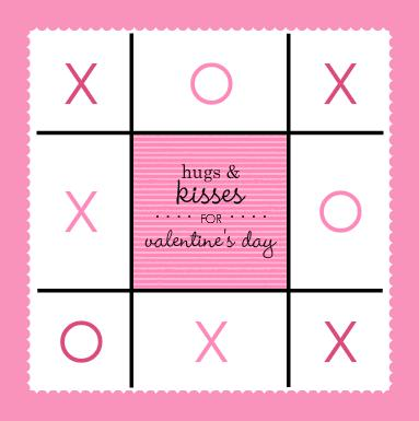 Hugs And Kisses Tic Tac Toe Valentines Day Decoration Party Invitation