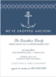Navy Nautical Anchor Housewarming Invitation wording
