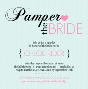 Pampered Pink & Blue bridal shower invitation by PurpleTrail.