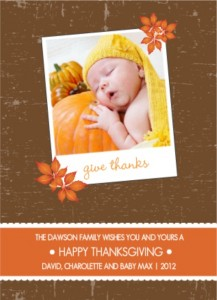 Picture Perfect Orange And Brown Thanksgiving Card wording