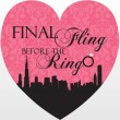 Pink and Black In the City Fling Bachelorette Party Invitation wording