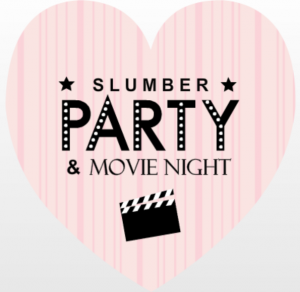 Pink and Black Slumber & Movie Night Invite Teen Slumber Party Movies