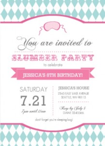 Pink and Teal Slumber Party Games Invitation
