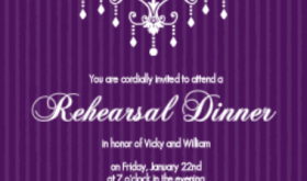 Purple Chandelier Rehearsal Dinner Ice Breaker Game Ideas Invitation