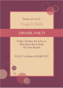 Purple and Pink Bubbles Dinner Party Invite couples party games