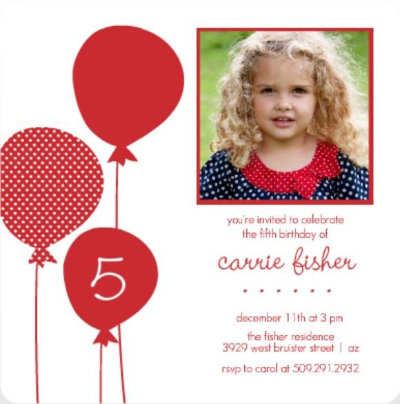 Red Balloons Holiday Birthday Invitation Wacky Birthday Party Ideas