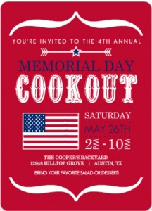 Red Modern Bracket And Flag Memorial Day trivia Invitation 