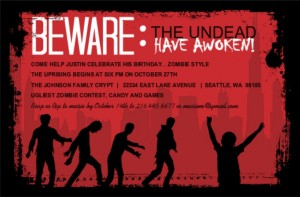 Red and Black Zombie Birthday (Set) Party Invite Detective Birthday Party theme