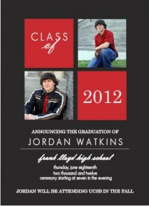 School Colors Simple Four Boxes (Set) Graduation Announcement inspirational graduation quotes