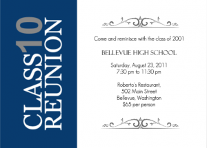 Vertical Blue Stripe High School Reunion ice breaker games Invitation