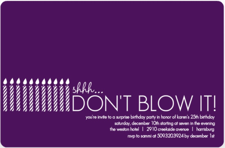Surprise Party Invitation Wording Ideas From PurpleTrail – Invitation Sayings for Birthday