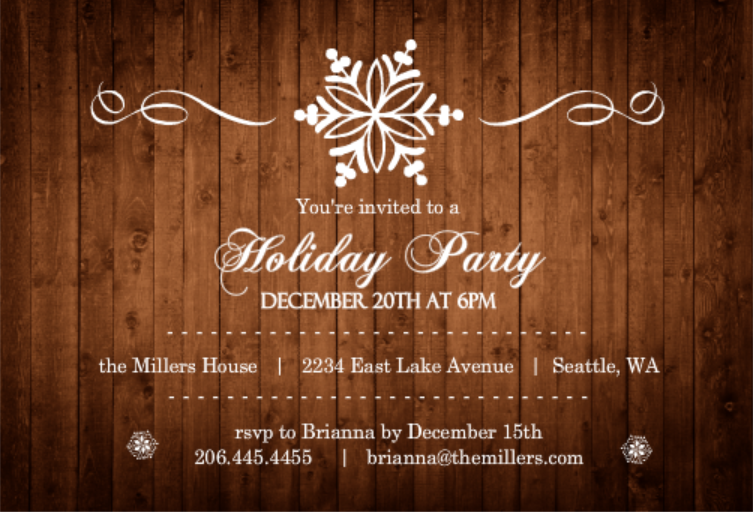 Wood Grain Elegant Snowflake Budget Holiday Party Invite