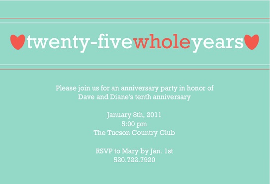 25th Anniversary Invitation Wording – 25th Anniversary Party Invitations