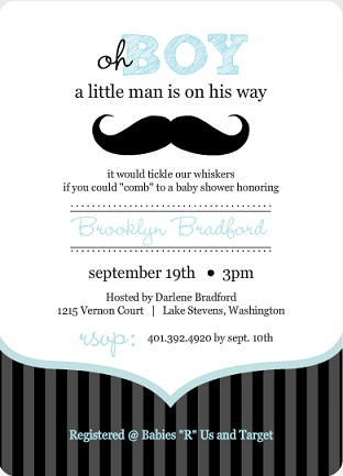moustache boy baby shower invitation