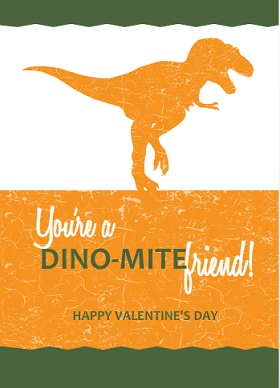 Dinosaur Crackle Valentines Card