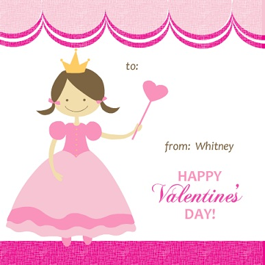 Pink Princess Valentine's Card