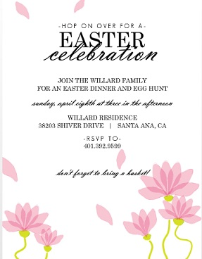 Elegant Pink Flowers Easter Party Invitation