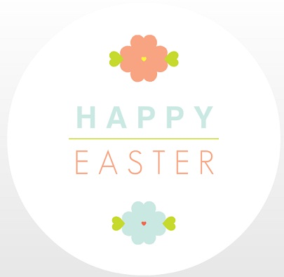 Pastel Flowers Circle Easter Card