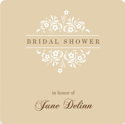 Brown And White Formal Flowers Bridal Shower Invite