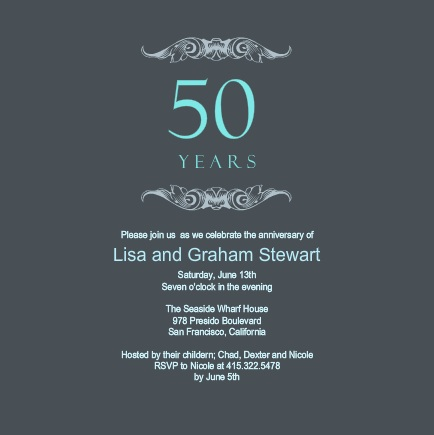 Gray And Teal 50th Wedding Anniversary Invitation
