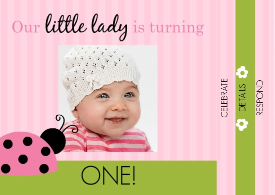 Pink And Green Ladybug 1st Birthday Booklet Invite