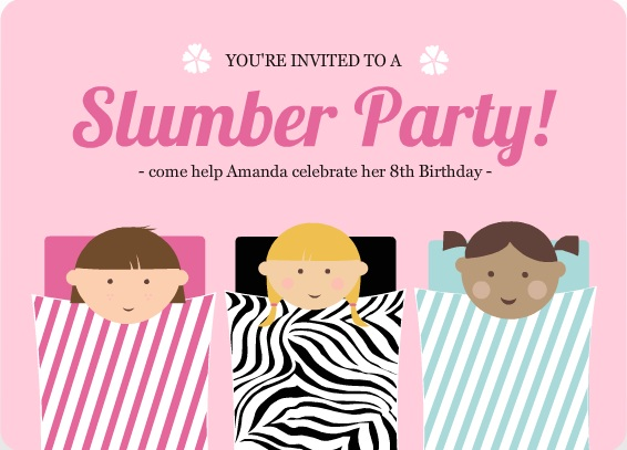 Pink Sleeping Bag Slumber Party Invitation
