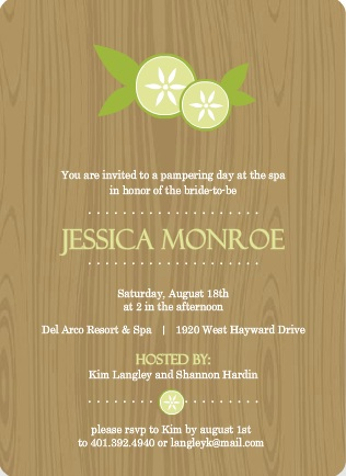 Wood Grain Cucumber Floral Spa Party Invitation