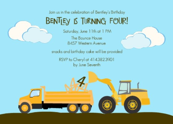 Kids Themed Party Construction Themed Party Decorations – Construction Themed Birthday Party Invitations