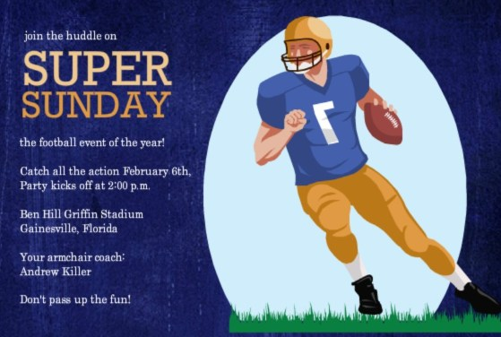 Football Invitations for Tailgates Superbowls Birthdays and More – Super Bowl Party Invite