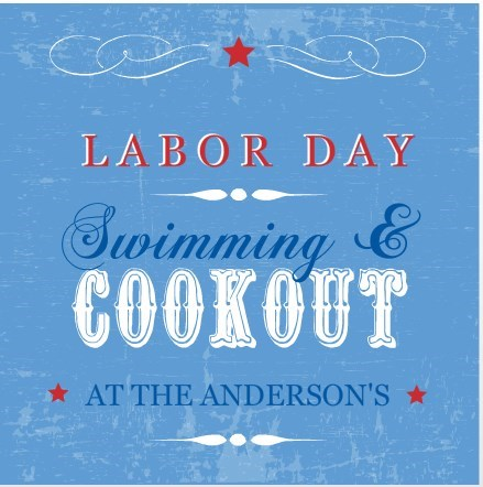 Blue labor day swimming party invitation