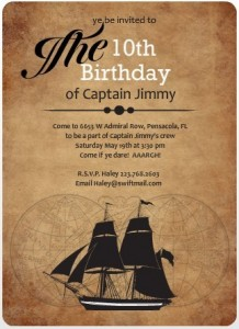 PurpleTrail pirate party invitation