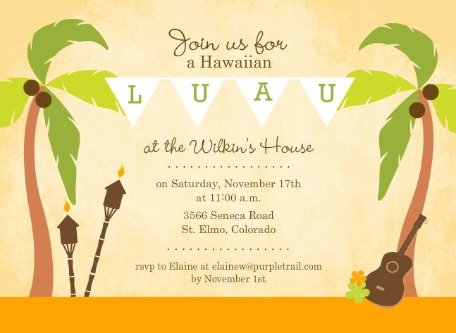 Luau Party Invitations – Tropical Birthday Invitations