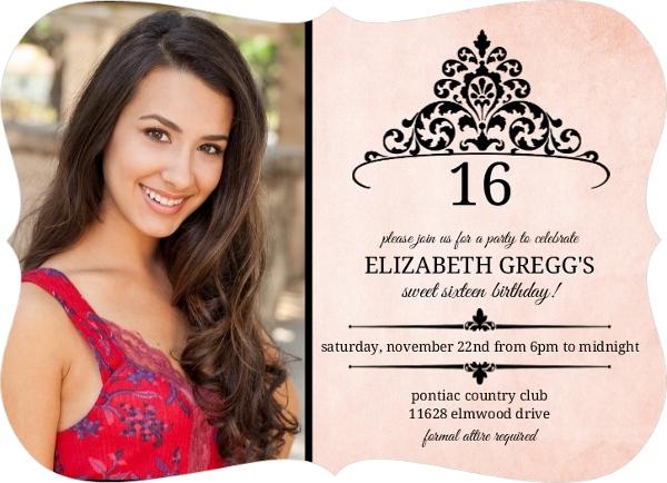 Pink And Black Princess Tiara – Sweet 16 Birthday Invitations by ...