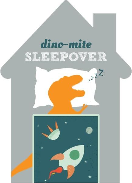 Slumbering Dinosaur Sleepover Birthday Invitation by PurpleTrail.com.
