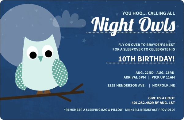 Blue sleepover night owl birthday invitation by purpletrail com