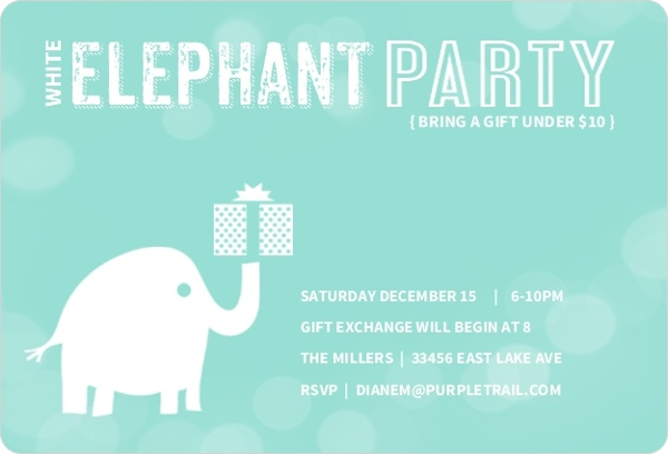 Gift Exchange Ideas Games for Office Work Family Holiday Parties – Elephant Party Invitations