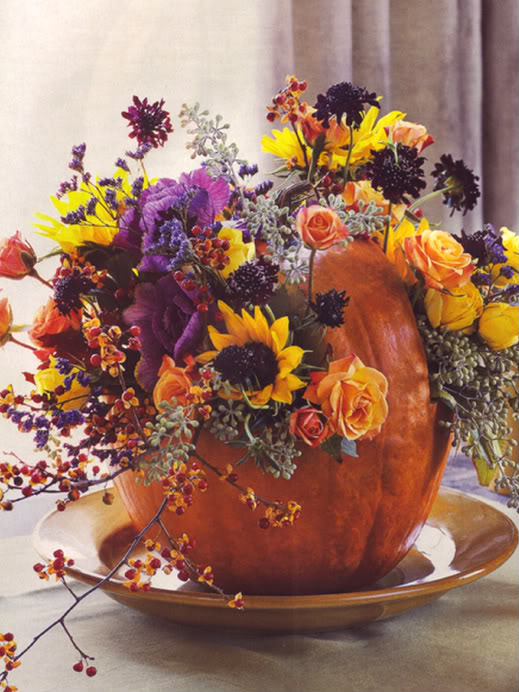 Thanksgiving hollowed out pumpkin with flowers
