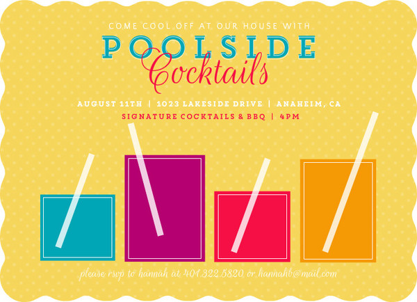 Signature Drinks Pool Party Invitation by PurpleTrail.com