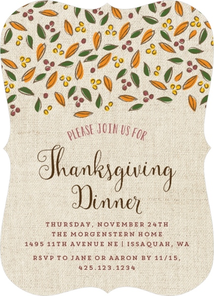 Thanksgiving Invitation Wording From PurpleTrail – Thanksgiving Party Invitation Wording