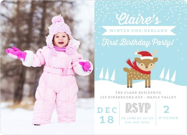 they have an adorable collection of winter onederland birthday invitation templates to choose from and they also have amazing customization options - Winter Onederland Party Invitations